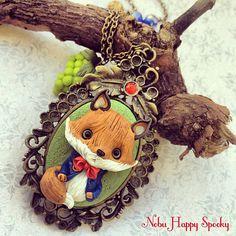 Cameo necklace la volpe e l'uva by NobuHappySpooky on Etsy