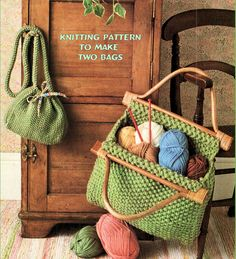 Knitting Pattern for Two Moss Stitch Bags – The finished handbag measures X… – Knitting patterns, knitting designs, knitting for beginners. Beginner Knitting Patterns, Knitting For Beginners, Loom Knitting, Baby Knitting, Knitting Ideas, Moss Stitch, Tote Pattern, Yarn Projects, Knitting Accessories