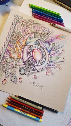 Martina Arend ball point pen Zentangle