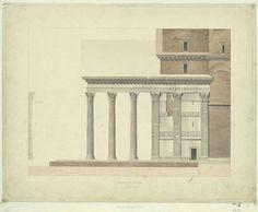 Henri Labrouste, Le Panthéon à Rome, élévation latérale du portique et profil d'un pilastre, [1825-1830], 41,1 x 46,9 cm, Paris, AA, 268.7 © Académie