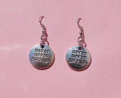 Never never give up earrings  dangle earrings  by leonorafi