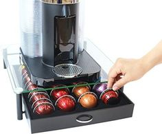 DecoBros Crystal Tempered Glass Nespresso Vertuoline Storage Drawer Holder  #DecoBrothers