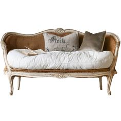 Antique French Chic Settee - One of a Kind ($5,995) ❤ liked on Polyvore featuring home, furniture, sofas, sofa, white couch, white sofa, rose furniture and white furniture