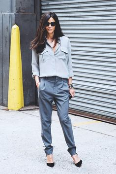 Grey can be edgy, if worn in a monochrome outfit. Add interest with pointy-toe heels.