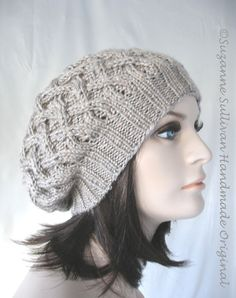 Knitted Slouch Hat, Slouchy Beanie, Womans Knitted Cap, Taupe Beret, Knit Beige Hat, Knitted Slouch Beanie