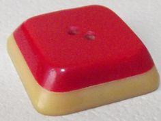 Chunky Vintage Bakelite / Catalin button Layered Red & Cream