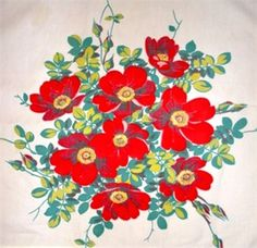 """Mary's Cottage Treasures Blog, vintage tablecloth """"Red Poppies"""""""