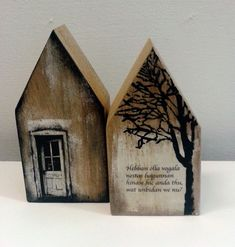 Saskia Obdeijn - Houten huisjes Hebban olla vogala - makes me think of bookends in Church shape, maybe with cast columns, tiny icons, quotes from books? Clay Houses, Ceramic Houses, Paper Houses, Miniature Houses, Wooden Houses, Art Houses, Wooden Crafts, Scrap Wood Crafts, Driftwood Art