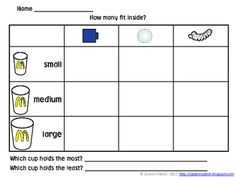 Here's an activity for measuring and comparing volume with nonstandard units.