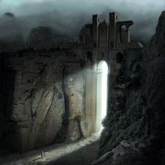 A lonely man standing into the light of a fortress gates on the mountains.   This image is a composite illustration which is is a mix of photographs and hand-painted elements, wisely merged and manipulated to create a very realistic looking picture.