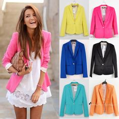 New Fashion Candy Color Basic Slim Foldable Suit Jacket Blazer XS s M L | eBay