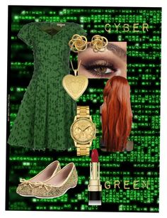 """""""Cyber Green"""" by frozen-rain on Polyvore featuring Kate Spade, Michael Kors, Lacoste, Fremada, Dolce&Gabbana, women's clothing, women, female, woman and misses"""
