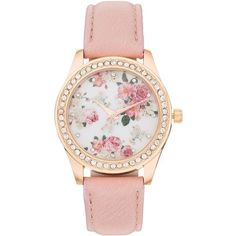 Women's Crystal Flower Watch (26 AUD) ❤ liked on Polyvore featuring jewelry, watches, accessories, bracelets, pink, floral watches, flower jewelry, floral jewelry, rose jewelry and crystal jewellery