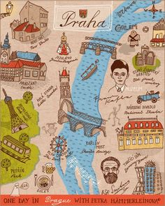 illustrated Prague map by Petra Haemmerleinova, via Illustration Friday. Great composition and I love the use of handwritingLovely illustrated Prague map by Petra Haemmerleinova, via Illustration Friday. Great composition and I love the use of handwriting Prague Map, Visit Prague, Prague Travel, Travel Maps, Travel Posters, Places To Travel, Illustrations Vintage, Prague Czech Republic, Travel Illustration
