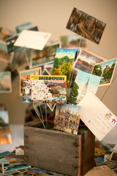 vintage postcard display - Travel-themed wedding (+globe guest book) - for the urban loft venue