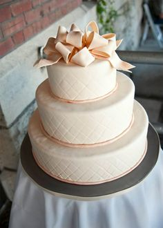 Quilted cake with a giant BOW!