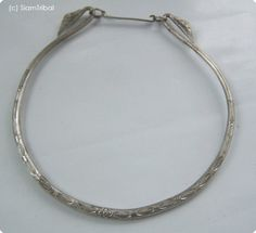 Hmong Original Ethnic Tribal art silver color Metal jewelry necklace