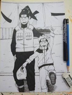 My Sensei by nekoruma Thank you Iruka-sensei for taking care of Naruto. Anime Boy Sketch, Naruto Sketch, Naruto Drawings, Anime Drawings Sketches, Anime Drawing Styles, Anime Character Drawing, Cute Anime Character, Manga Drawing, Naruto Sasuke Sakura