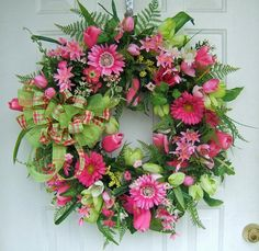 Beautiful Spring wreath, Custom order,  lime &  hot pink, Any color combo, bright Front door wreath, floral arrangement, silk flowers. $135.00, via Etsy.