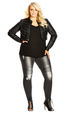 City Chic Rock My World Skinny Jeans - Women's Plus Size Fashion City Chic - City Chic Your Leading Plus Size Fashion Destination #citychic #citychiconline #newarrivals #plussize #plusfashion