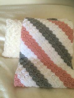 C2C baby girl blanket, with Vanna's choice yarn.