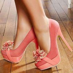 Stylish Floral Round Toe Platform Ultra-High Heel Prom Shoes