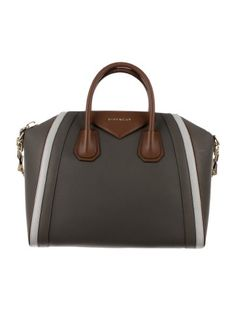 Brown, light grey and grey leather Givenchy Antigona Bag with gold-tone hardware, logo at front, removable strap, dual rolled handles, two interior slip pockets, interior zipped wall pocket and top zip closure. Includes dust bag. Shop Givenchy handbags on sale at The RealReal.