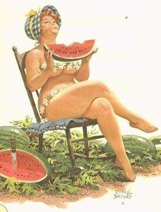 """Watermelons Ripe"" Pin-up Girl by Duane Bryers: Hilda Uñas Pin Up, Pin Up Art, Rolf Armstrong, Arte Pin Up, Estilo Pin Up, Full Figured, Big And Beautiful, Beautiful Artwork, Pin Up Girls"