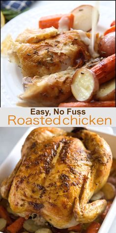 Easy, No Fuss Roasted Chicken This AMAZING Roasted Chicken recipe is so easy that even the most amateur cook can knock it out of the park! Plus step by step tutorial and video for how to cook it perfectly in the oven (or the slow cooker! Whole Chicken In Oven, Baked Whole Chicken Recipes, Cooking Whole Chicken, Oven Roasted Chicken, Roast Chicken Recipes, Stuffed Whole Chicken, Healthy Chicken Recipes, Cooking Recipes, Cook Chicken In Oven