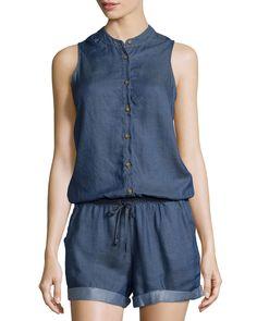 Jach's Girlfriend Kalin Sleeveless Chambray Short Jumpsuit, Dark Indigo, Women's, Size: XS, Dark Indig