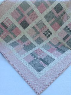 Sweet baby girl pink and gray quilt. Soft. Cuddly. on Etsy, $70.00