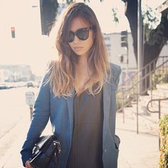 Rumi Neely - Acne blazer & Zara leather cami