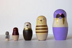 "6"" nesting dolls // five animals (silver + gold)"