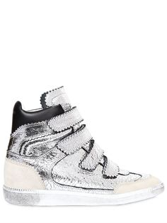 3a22193adb95 Isabel Marant Bekett Denim Wedge Sneakers (810 CAD) ❤ liked on Polyvore  featuring shoes