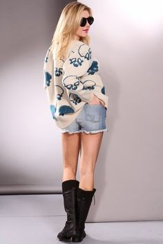 skull printed pullover sweater, fashion loose round neck pullover, white blue skull long sleeves  sweater #skull #printed #pullover #Sweater www.loveitsomuch.com