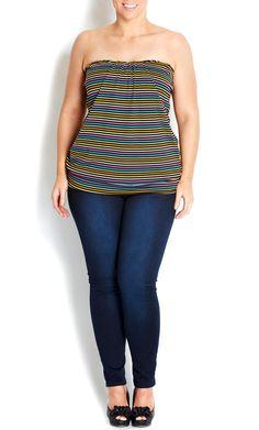 City Chic - LICORICE DRAPE FRONT BOOBTUBE - Women's plus size fashion #citychic #citychiconline #sweetsteals #plussize