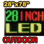 """Outdoor Programmable LED Signs in sizes from 12""""x40"""" up to 28""""x78"""".  Three Color, Rugged, Weatherproof, Bright, and Outdoor Ready."""