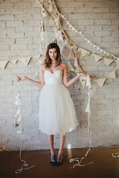 short tulle skirt wedding dress