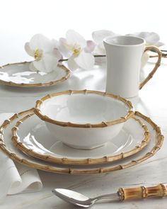 "Four ""Bamboo"" Dinner Plates by Juliska at Horchow.  Great for mix and match table settings!"