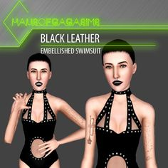 BLACK LEATHER EMBELLISHED SWIMSUIT by MarcSims - Sims 3 Downloads CC Caboodle