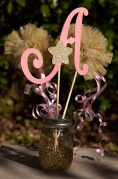 Twinkle Twinkle Little Star Birthday Party Pink and Gold Centerpiece Table Decoration