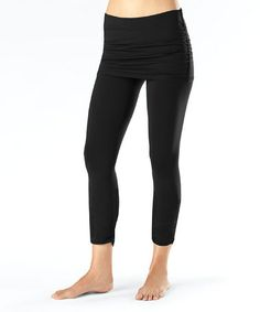 I got these in the mail today.  Love them as maternity wear and after.  hides the bum.  Lucy Black Pranayama Skirted Leggings by lucy