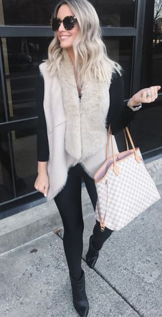 #winter #outfits women's brown sleeveless cardigan. Click To Shop This Look.