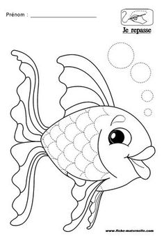 schrijfoef vis apply patternsapplies designsrainbow fishtropical fishkids worksheetsfine motormotor skillscoloring pagescolouring - Rainbow Fish Coloring Page