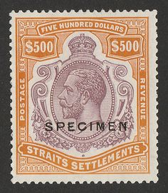 Straits Settlements, Old Stamps, Five Hundred, Orange Brown, Seals, Postage Stamps, Stamping, The Past, Auction