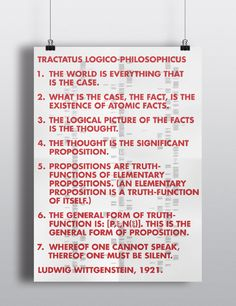 Tractatus Logico-Philosophicus - Joshua McCormack. This poster was made to give a new form to Ludwig Wittgenstein's famous philosophical piece that attempts to identify the relationship between language and reality and to define the limits of science. The Poster contains over 20,000 words.