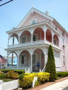 Five pink historic homes