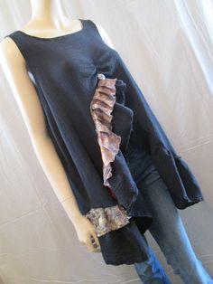 Lagenlook Cotton Gauze Tunic Ruffled Sleeveless Boho Chic One