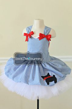 Dorothy Wizard of Oz Blue Gingham w/ Red Bows Tutu Birthday Party Dress Halloween Pageant Costume Toto Dog Applique Skirt  Princess 6mos-5T