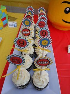 Cupcakes at a Lego Party #lego #cupcakes